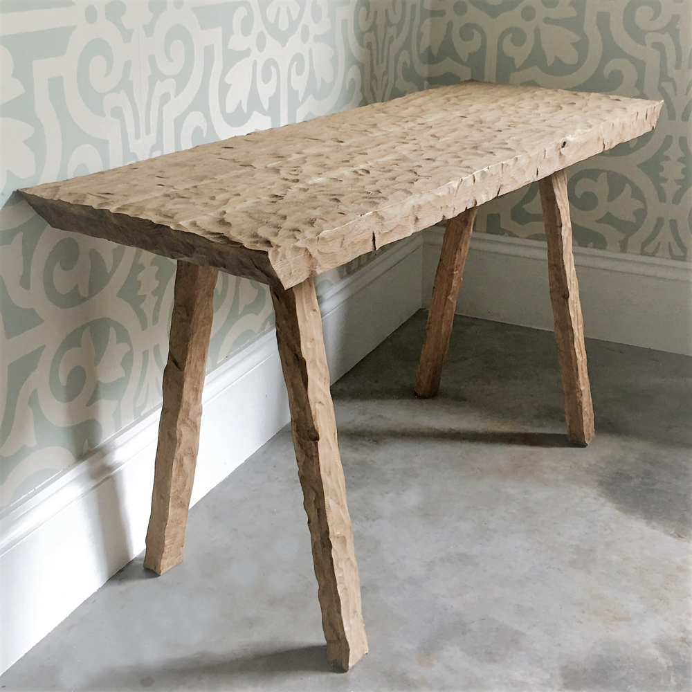 """""""Whittle Console"""" hand whittled solid oak"""