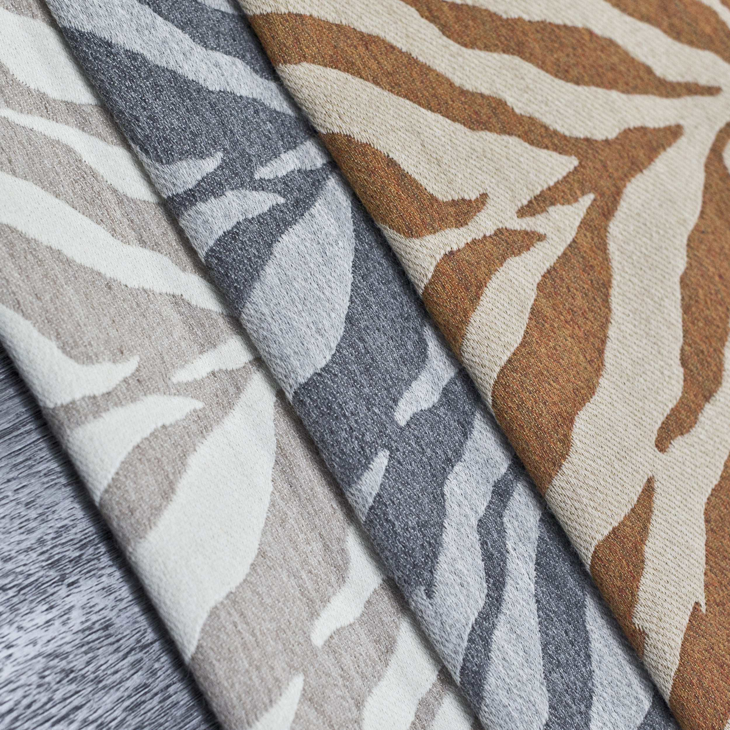 Panthera Tigris fabric collection composed of 67% Peruvian Baby Alpaca, 33% Egyptian Cotton