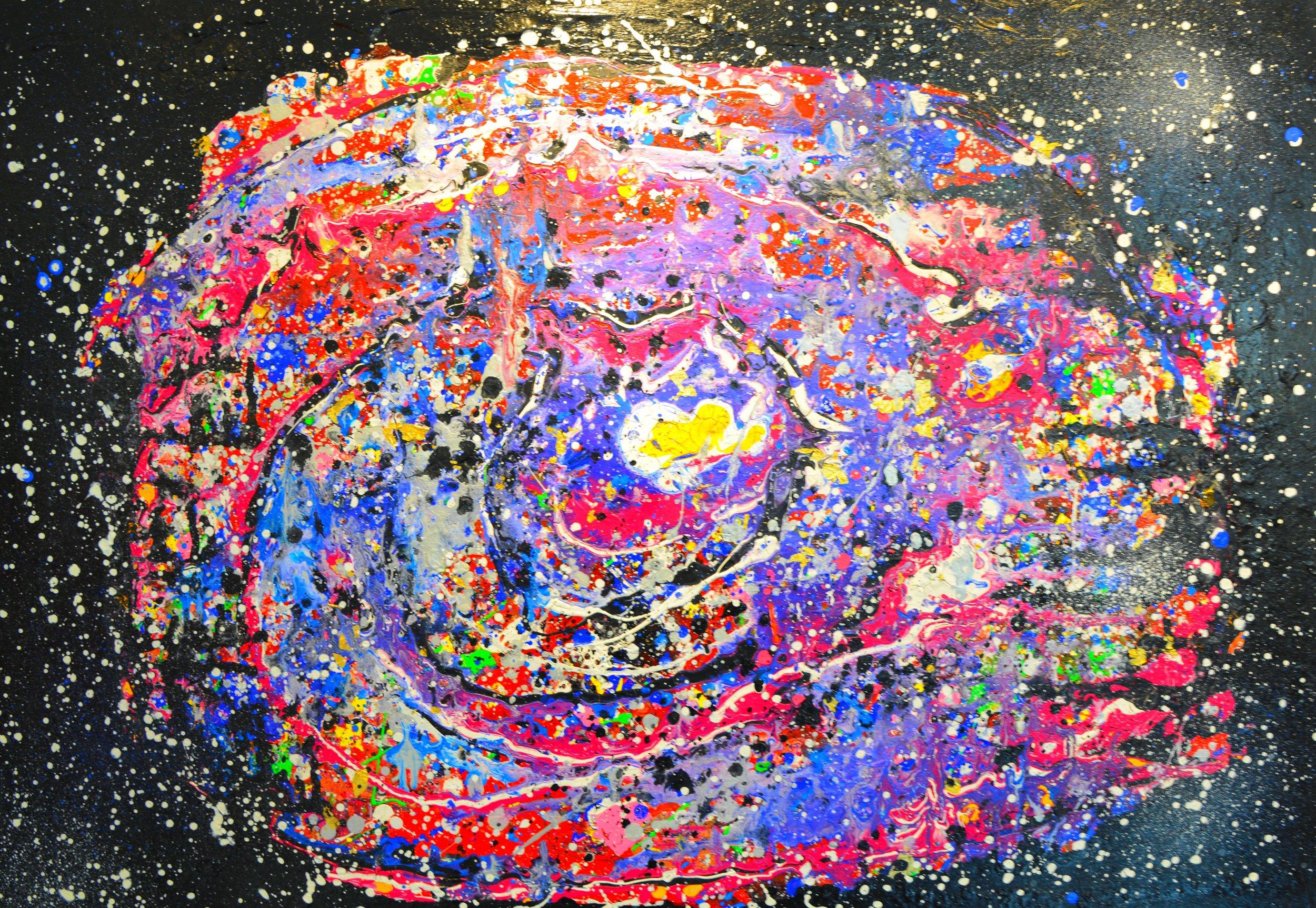 Spiegelei-Galaxie Acryl auf Leinwand