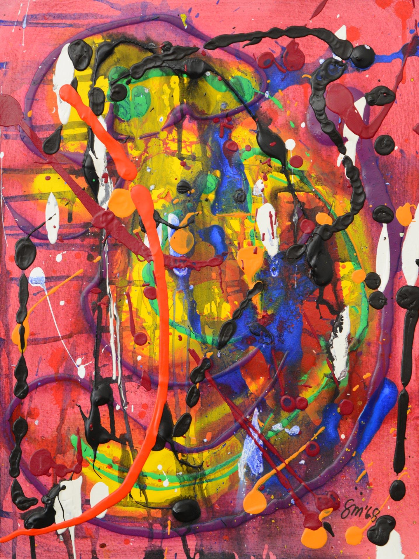 Abstrakte Komposition 4 | Acrylfarben Aquarellfarben auf Papier