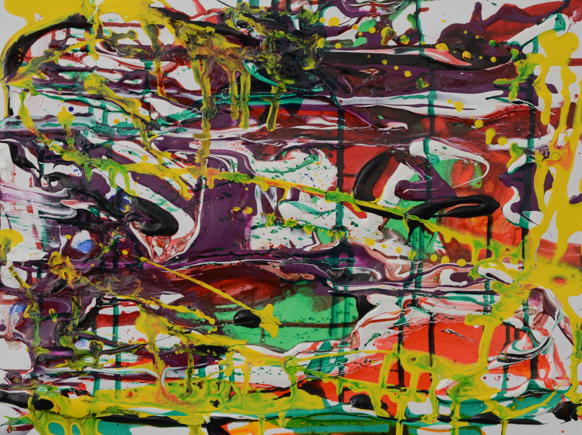 Abstrakte Komposition 5 | Acryl Aquarellfarben auf Papier
