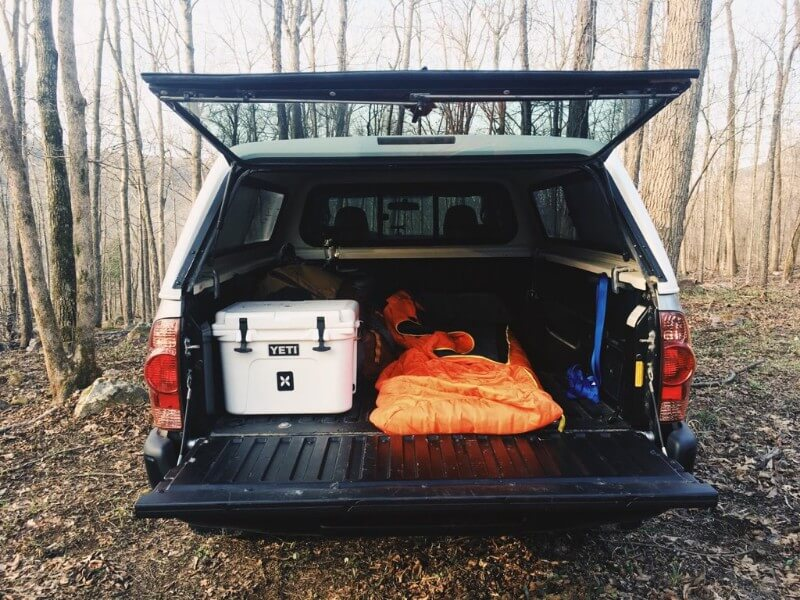 opt4scentic truck shell camping in toyota pickup