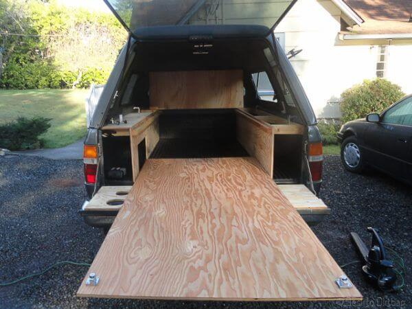 desk to dirtbag truck camping sleeping platform modular style