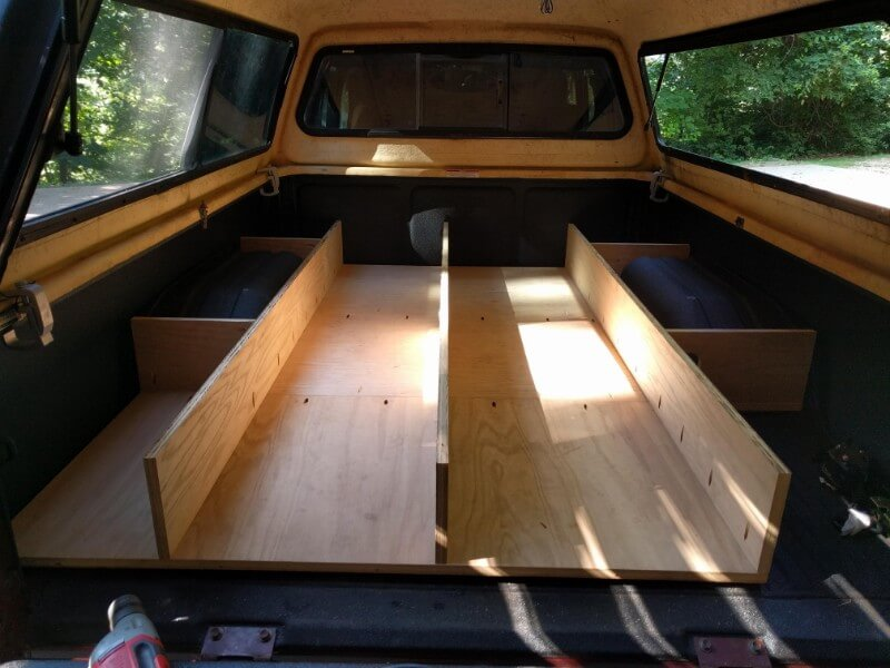 pickup truck sleeping platform build sliding drawer dividers