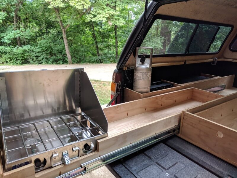 truck shell platform build kitchen stove in slide out drawer
