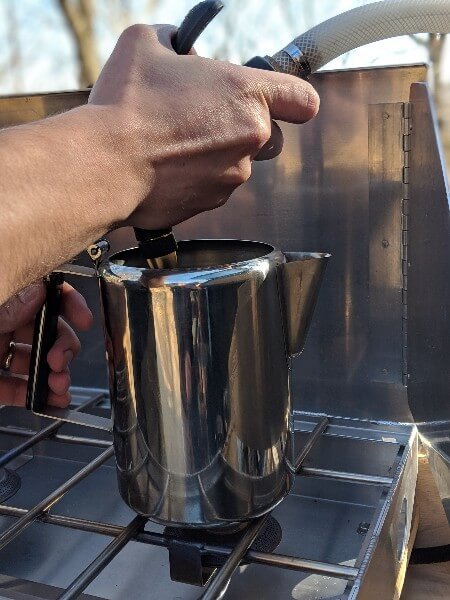 fill stainless percolator with cold water