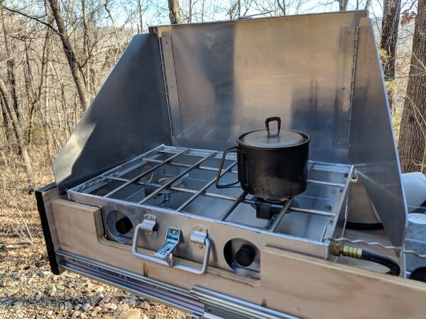 msr titanium kettle boiling water for coffee on camping stove