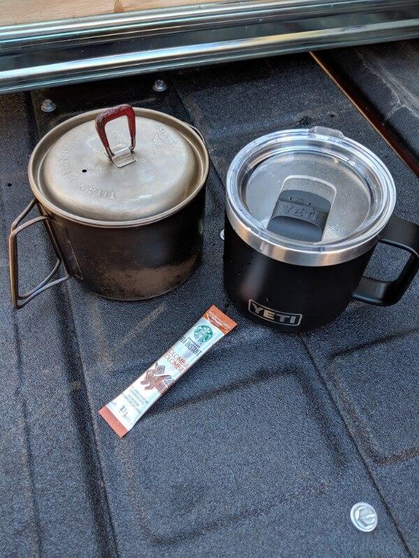 msr titanium kettle yeti mug starbucks instant camping coffee
