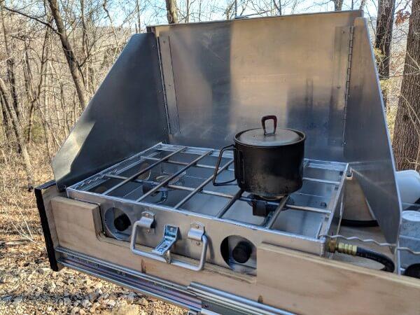 msr titanium kettle on truck camper stove