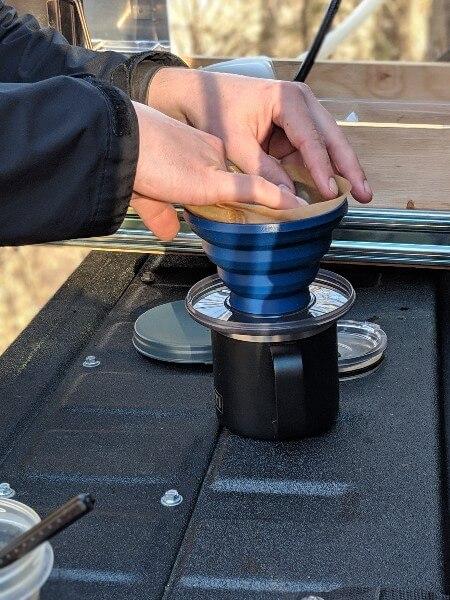 cone filter in gsi javadrip on yeti mug to make camping coffee