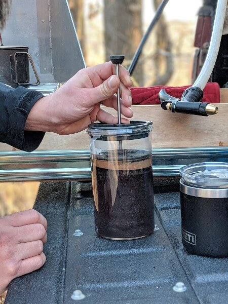 press plunger of gsi javapress to make french press camping coffee