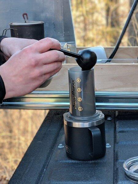 coffee grounds into aeropress chamber