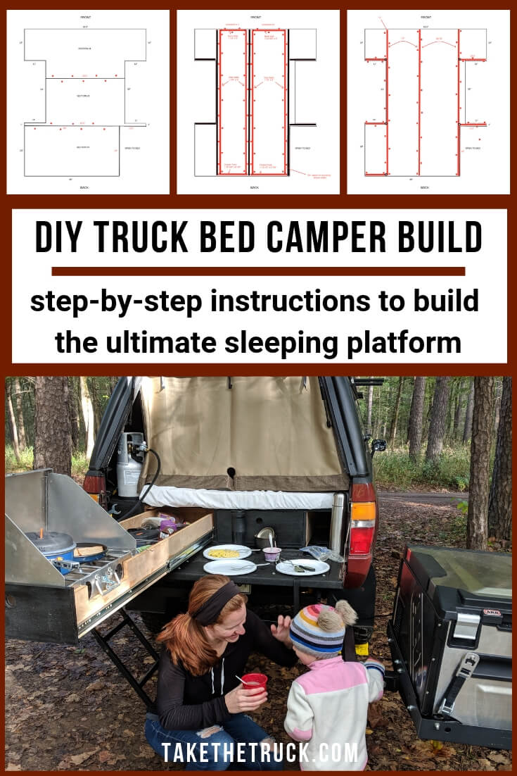 Step-by-step instructions on building a truck camping sleeping platform with drawers.
