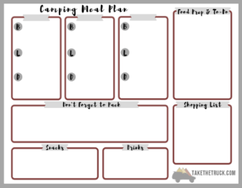 click here downloadable free printable blank camping meal plan template