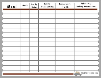 Free printable meal planner and inventory for a road trip or vacation