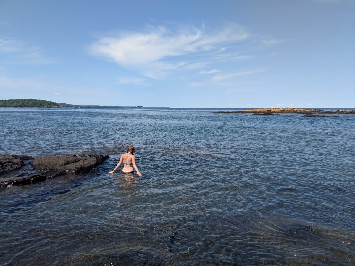 Bathing while camping on Lake Superior in the Michigan upper peninsula