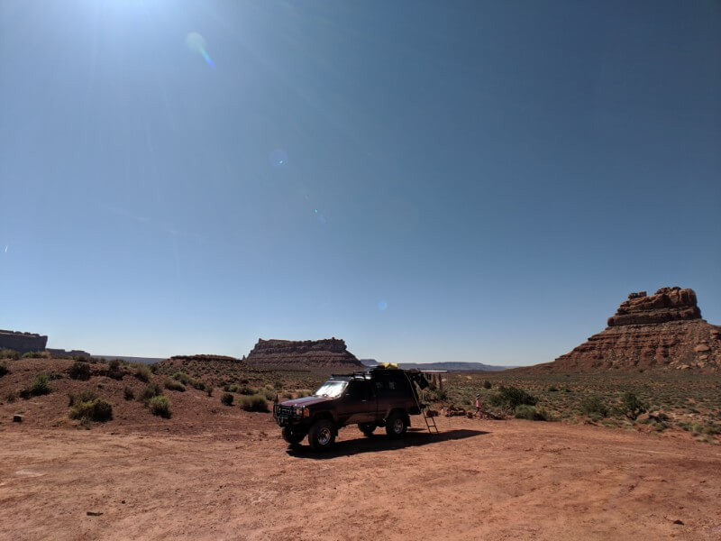 Truck camping in the arid high desert of southeast utah at valley of the gods