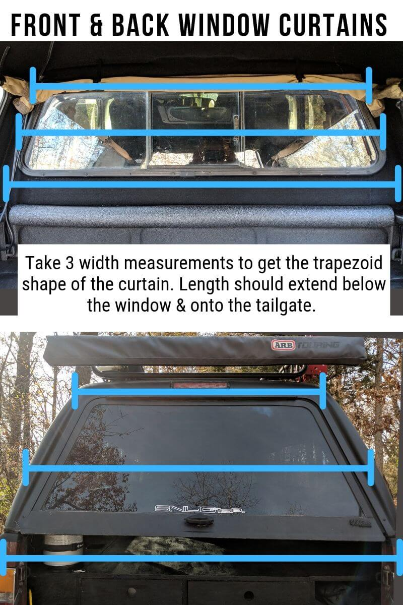 Details on taking measurement to measure front and back hatch truck shell windows for diy camper curtains.