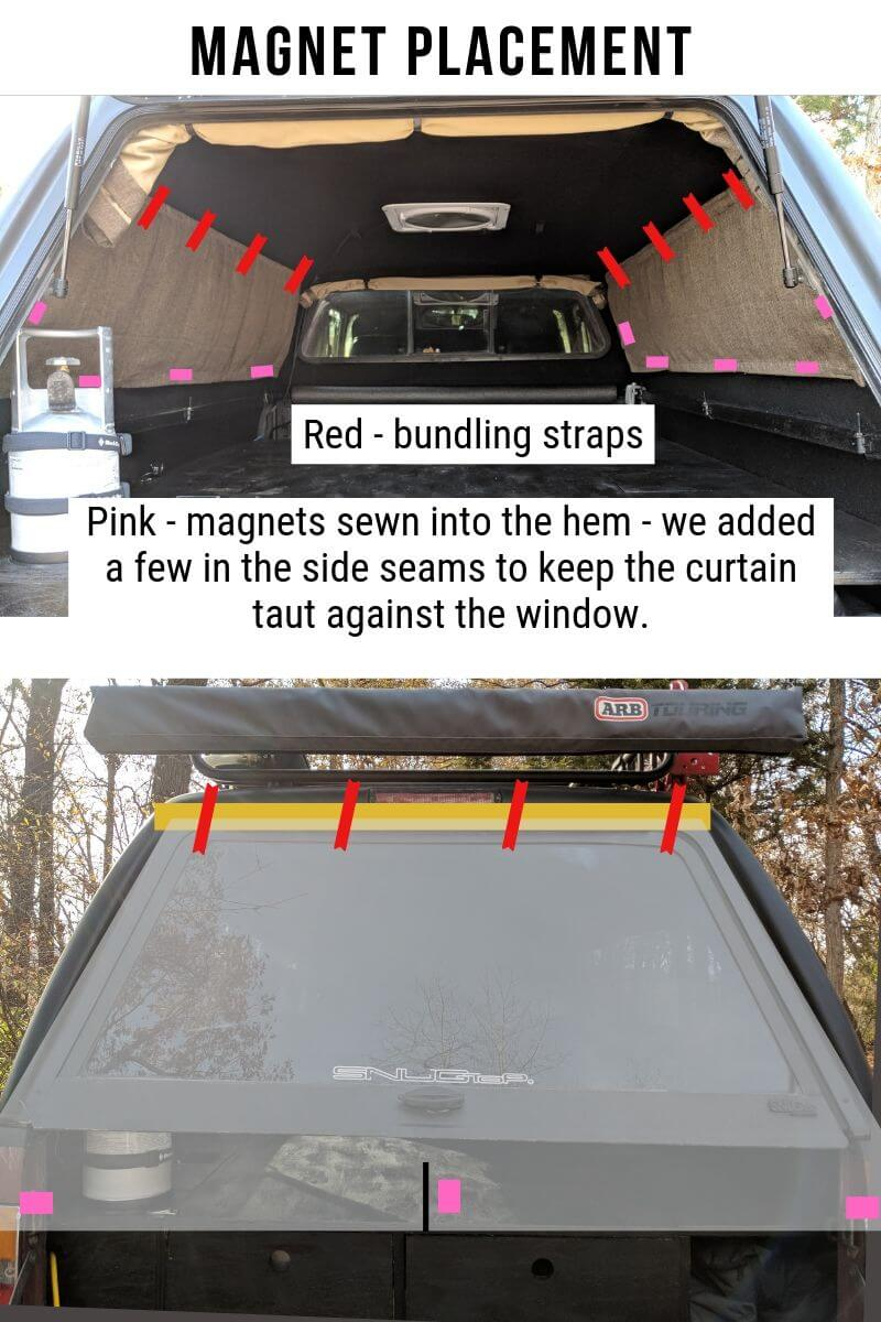 DIY truck shell curtain design using velcro, bundling straps, and magnets.