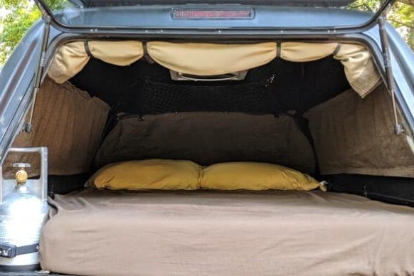 DIY camper shell curtain with step-by-step instructions