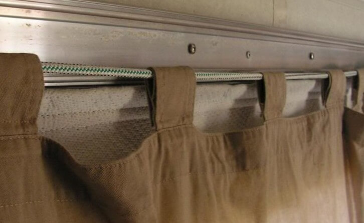 DIY camper curtains hung too low.