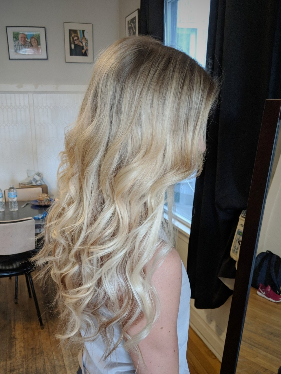 Fusion extensions on fine, shoulder length hair.