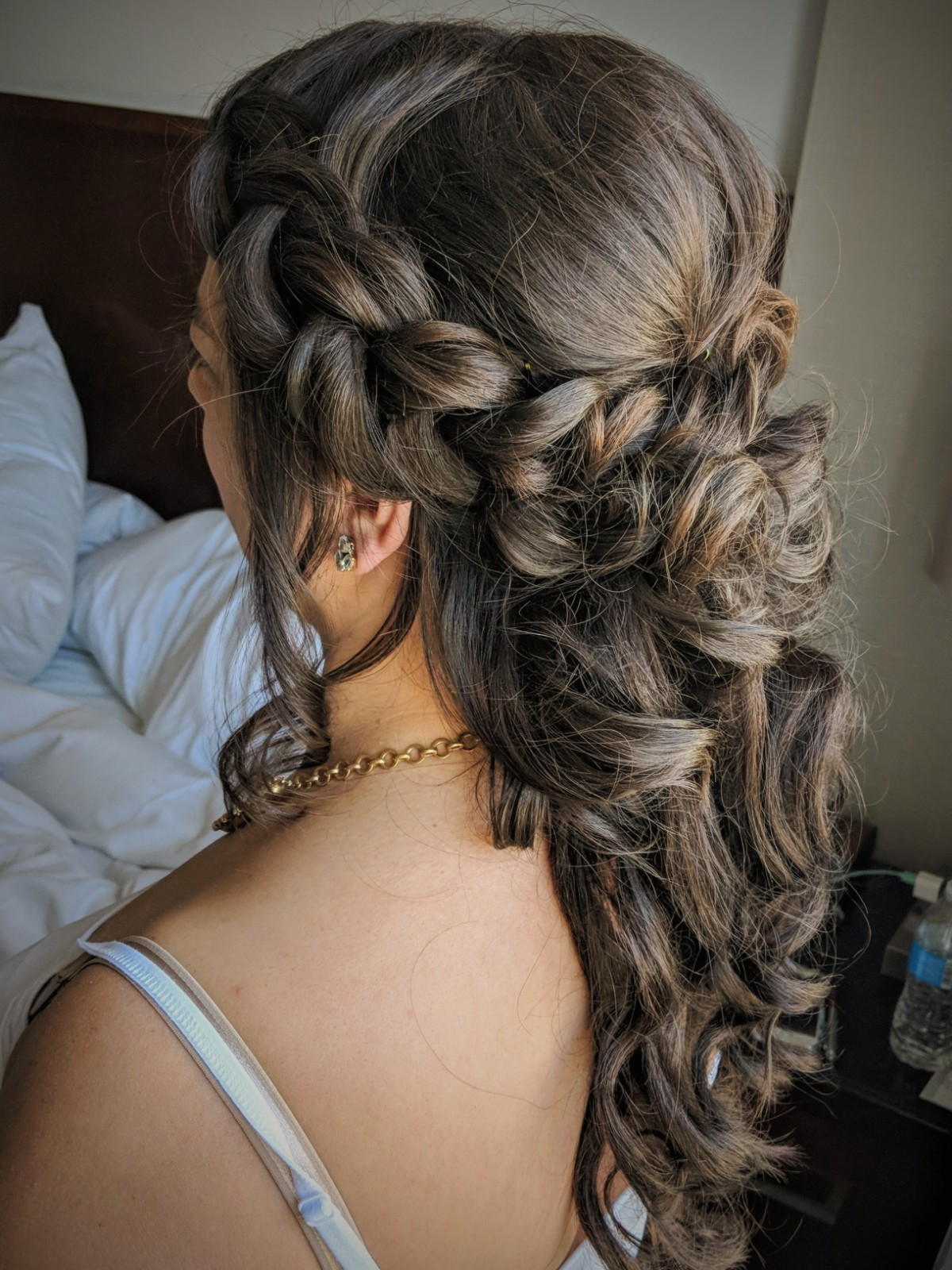 Extensions on a bob haircut for bridal updo