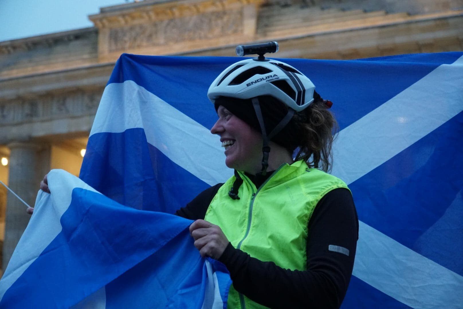 Jenny Graham at the Brandenberg Gate, Berlin - Round the World record