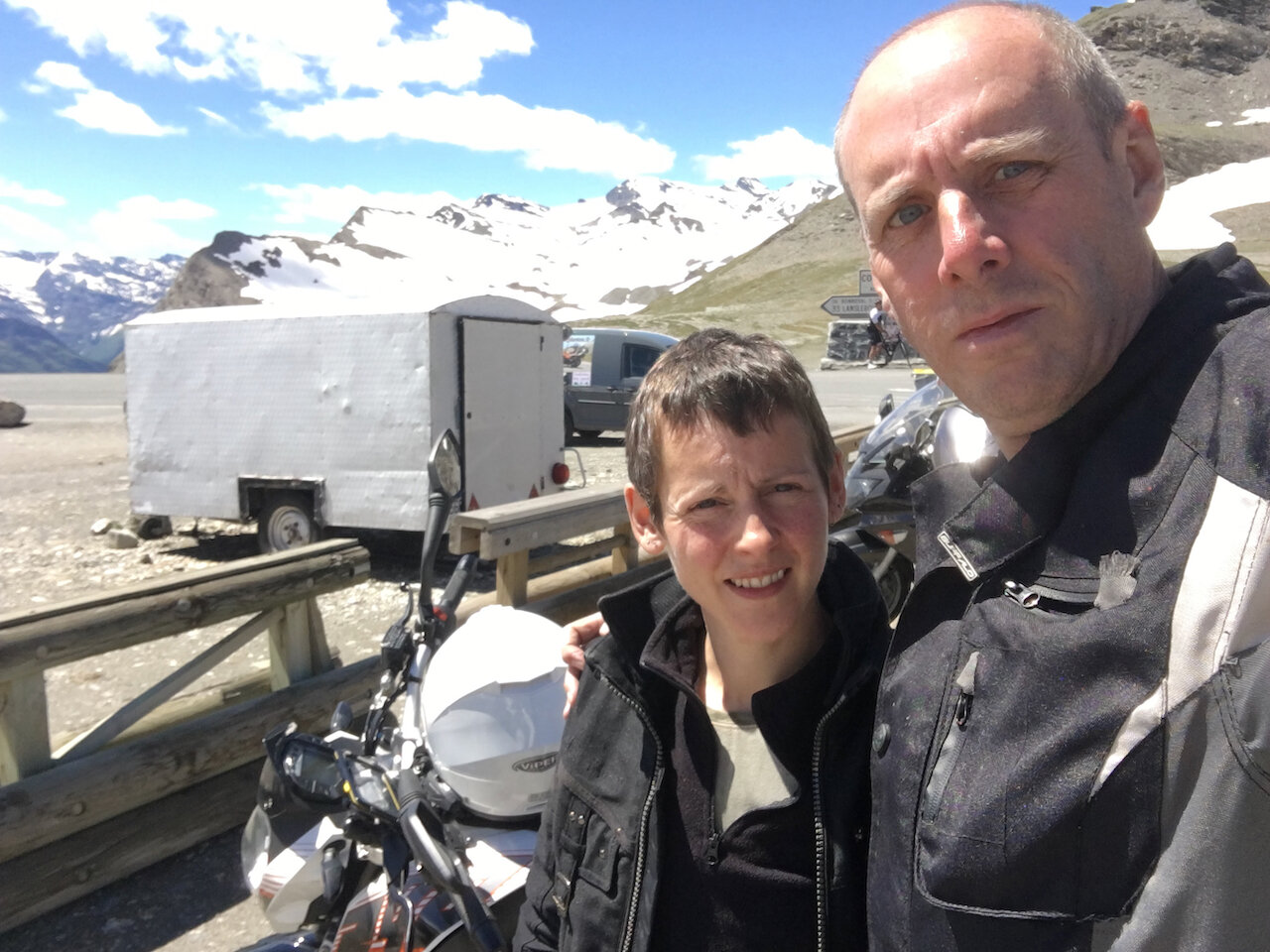 John and I taking a break from training and enjoying a motorbike ride in the Alps.