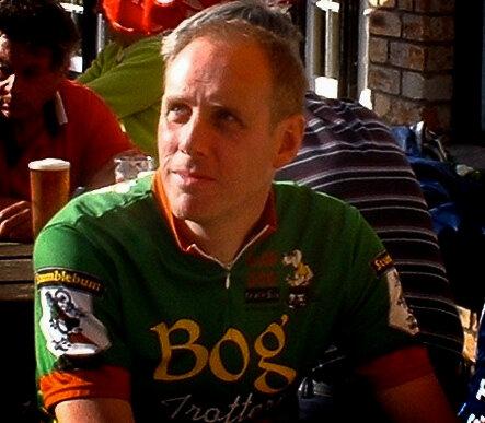 John taking a break on a cycling tour
