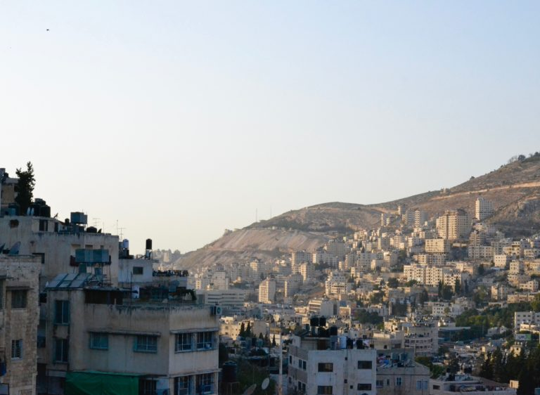 The Nablus skyline in the evening from the TYO Center.