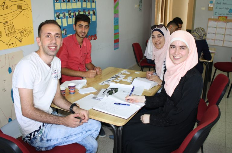 Students of the STEP! II EFL class learn language skills and experience cross cultural connections with TYO international interns and fellows.