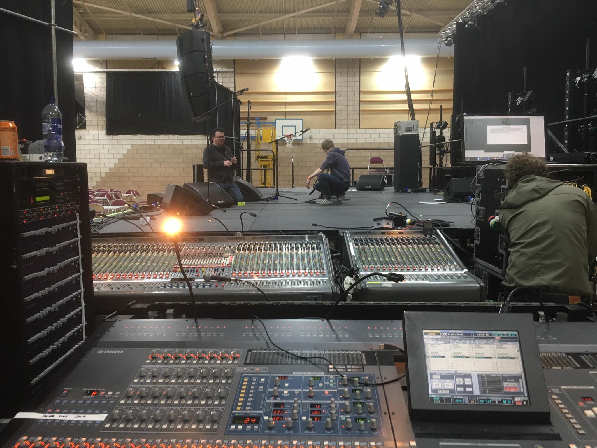Setting up to record a live show at Shetland Folk Festival 2017