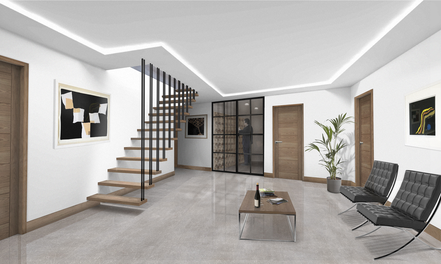 interior rendering with open tread suspended staircase