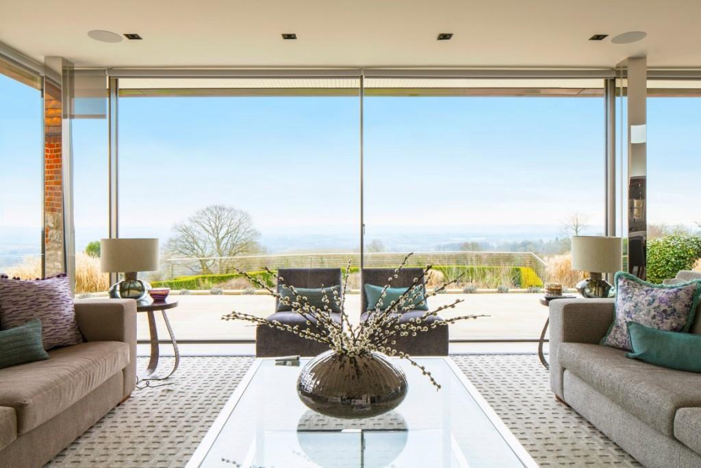 contemporary living room vast glazing stunning views