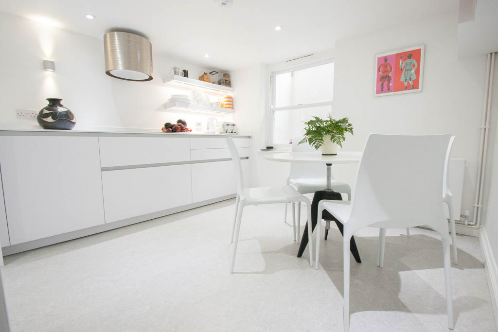 white bright kitchen diner