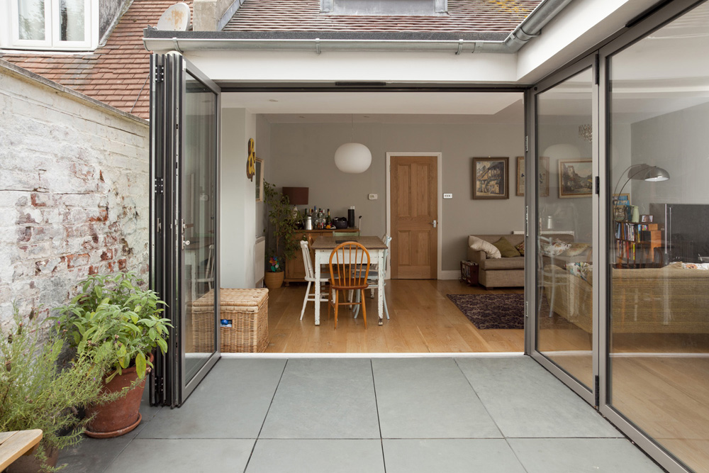 bifold doors to terrace open up to dining room