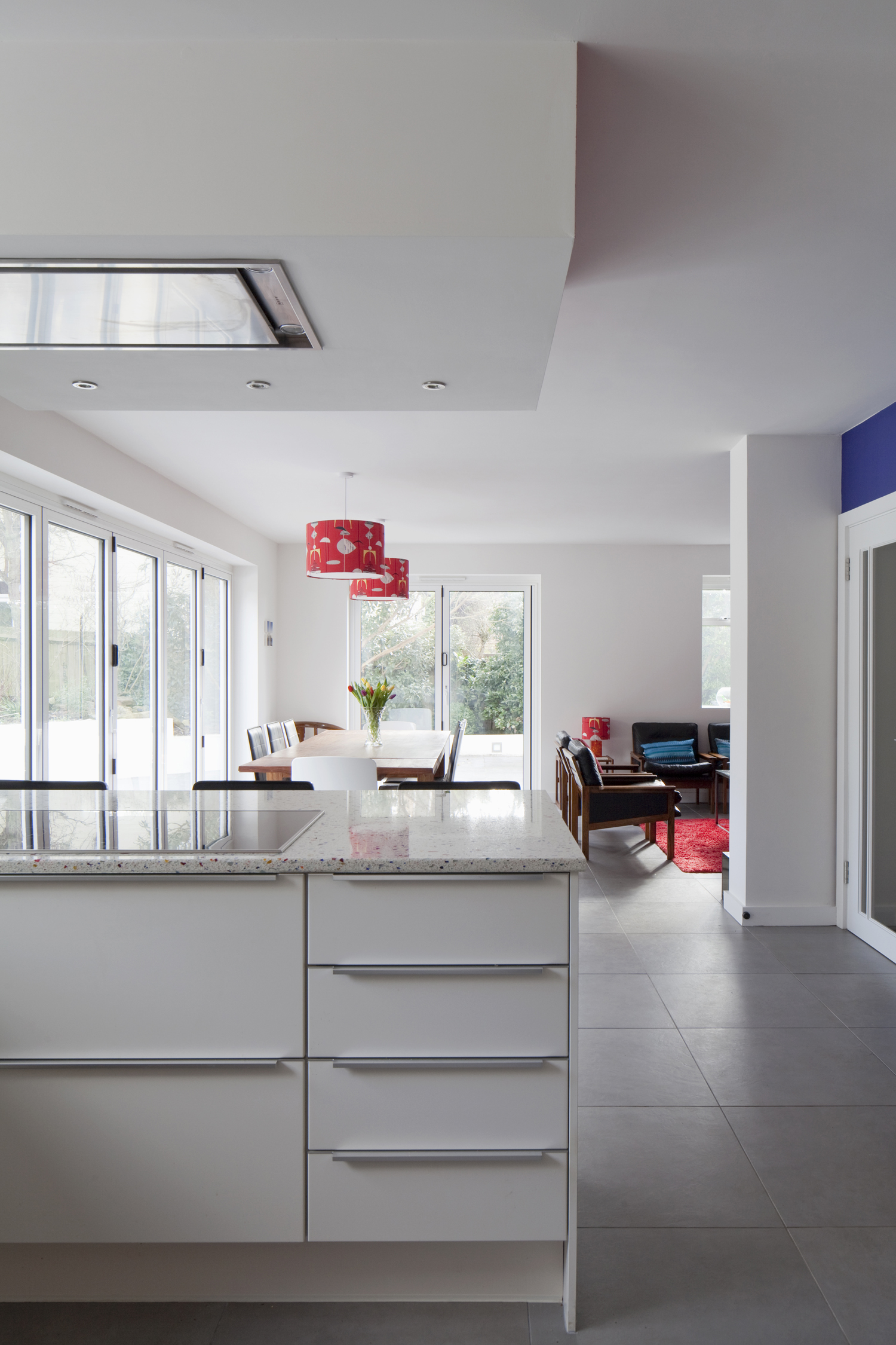 modern kitchen looking to dining and garden