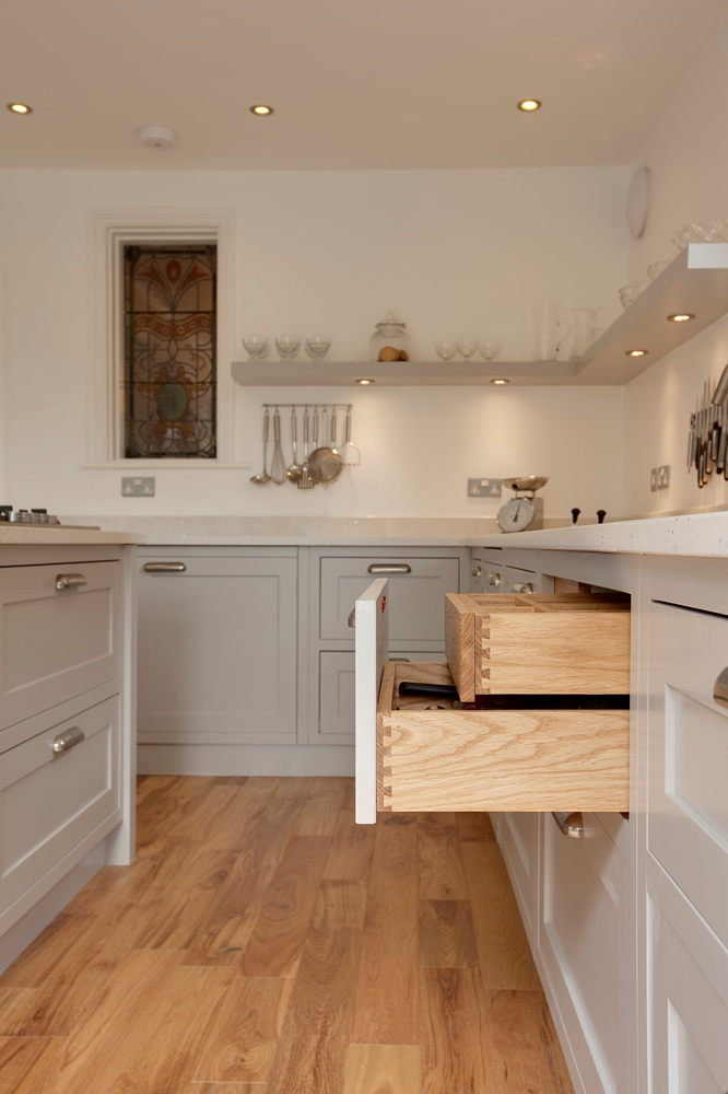 bespoke kitchen with dovetail joinery and open shelving