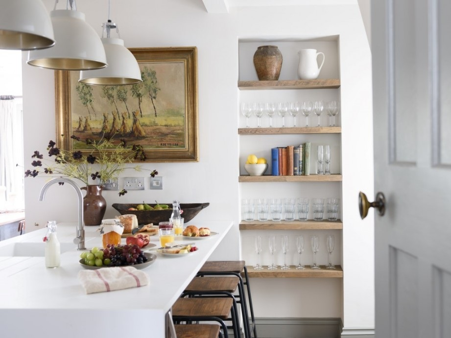 comfortable and contemporary kitchen with a rustic feel