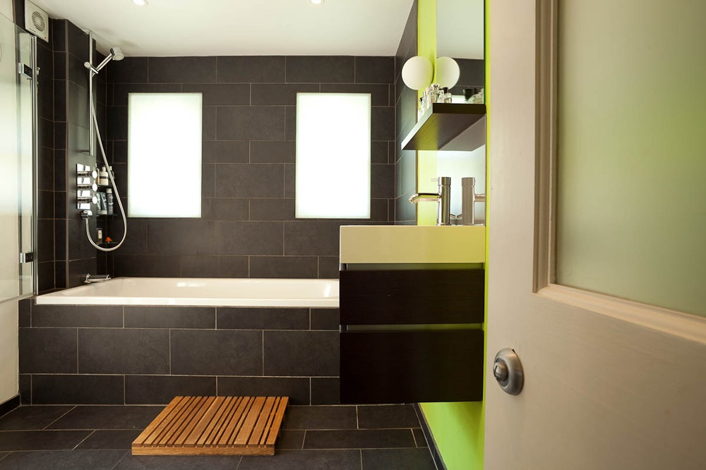 black and lime green modern bathroom