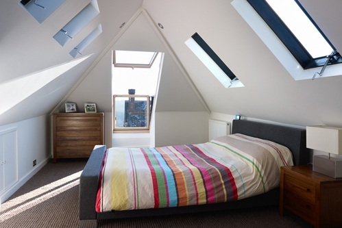 converted loft room with a view