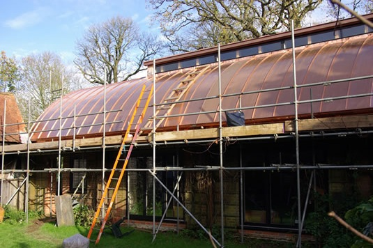 cow shed new copper barrel vaulted roof