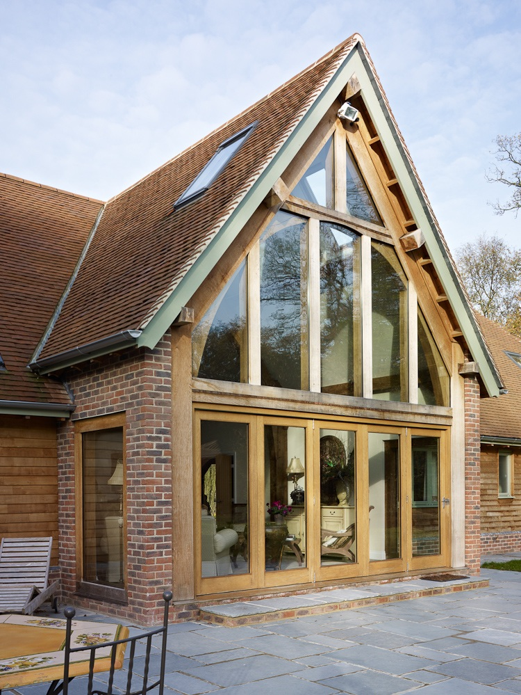 exterior view of timber frame great room