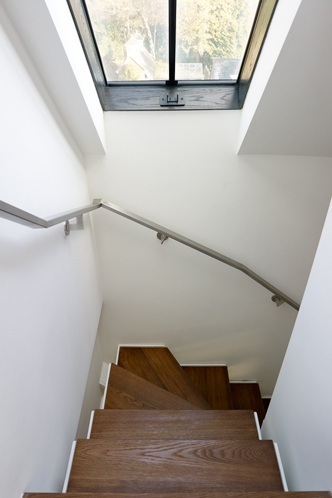 contemporary stair timber treads and skylight