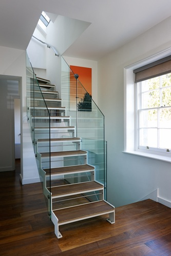 contemporary stair timber treads steel stringers glass balustrade