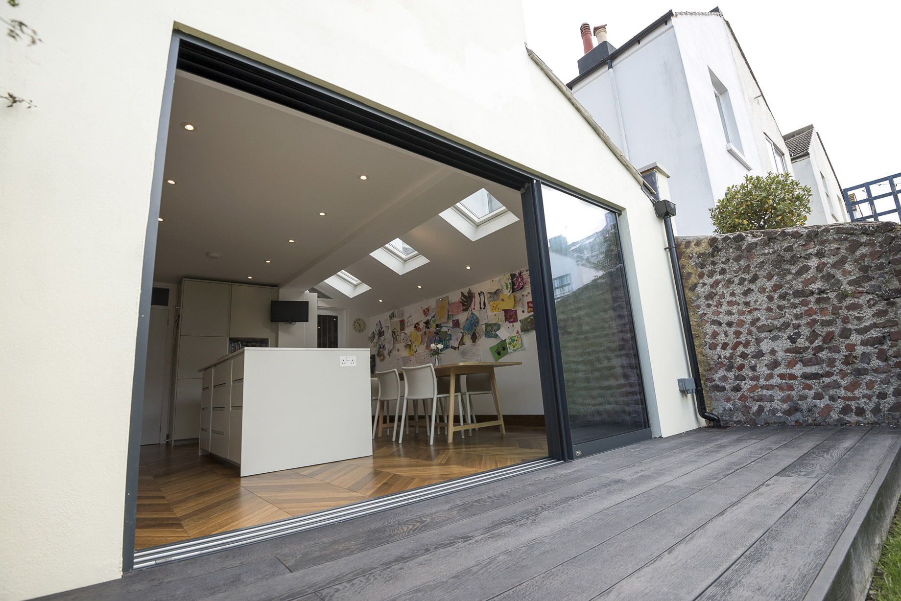 side return extension and sliding doors to garden