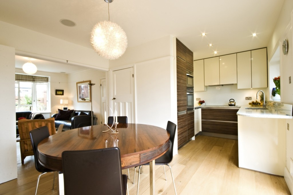 open plan contemporary kitchen dining living area
