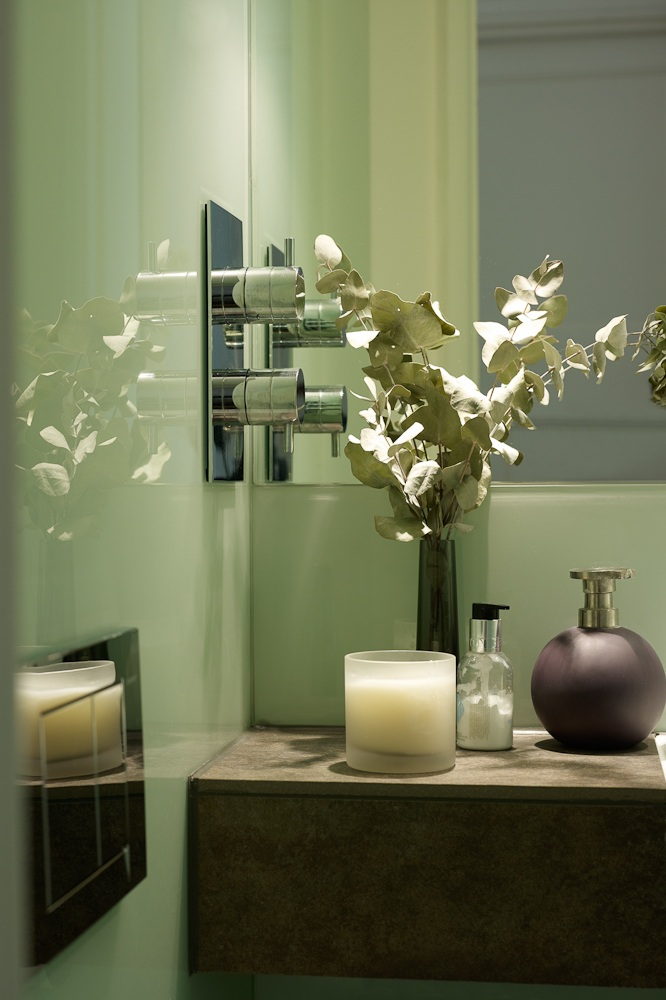 contemporary wet room under staircase details