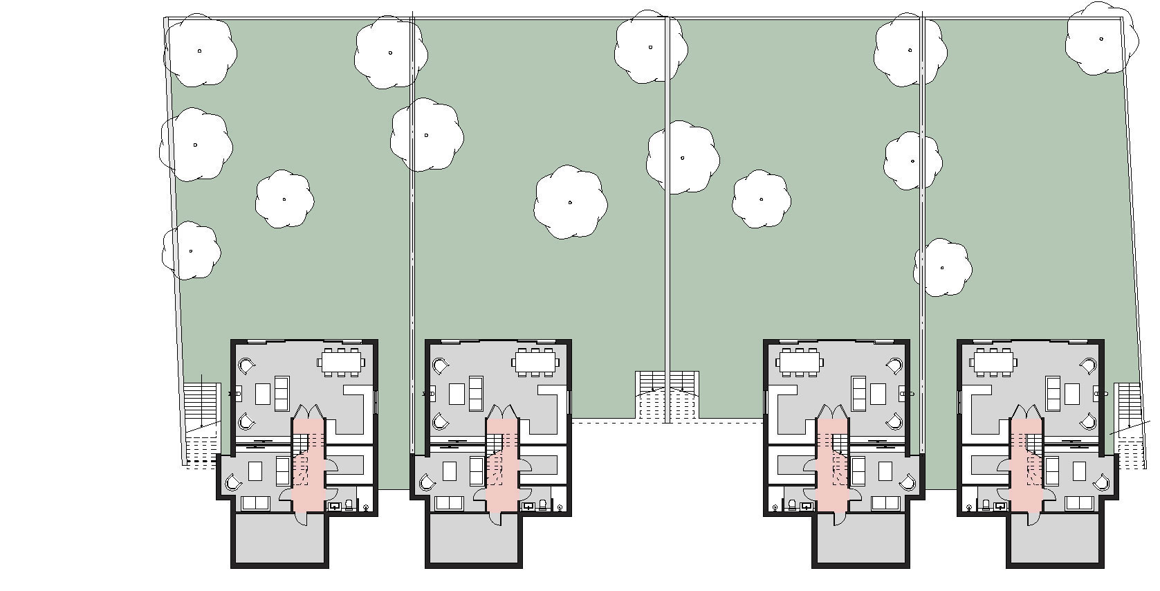 proposed first floor plans dwellings 1-4